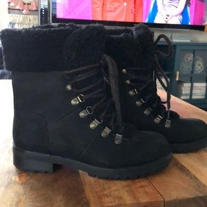 Ugg Lace Up Shearling Lined Black Boots